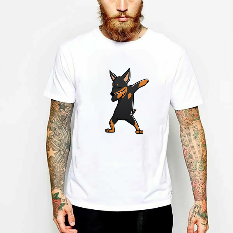 Miniature Pinscher Dabbing Dog Dab Dance Move Fashion 3D Printed Casual Short Sleeve Tees Tops Graphic Ladies Womens