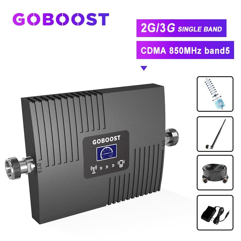 Repeater Cellular Signal Booster 2g 850mhz CDMA GSM 2g 3g LCD Display Mini Amplifier Signal Network 65dB Yagi+Whip Antenna Kit #