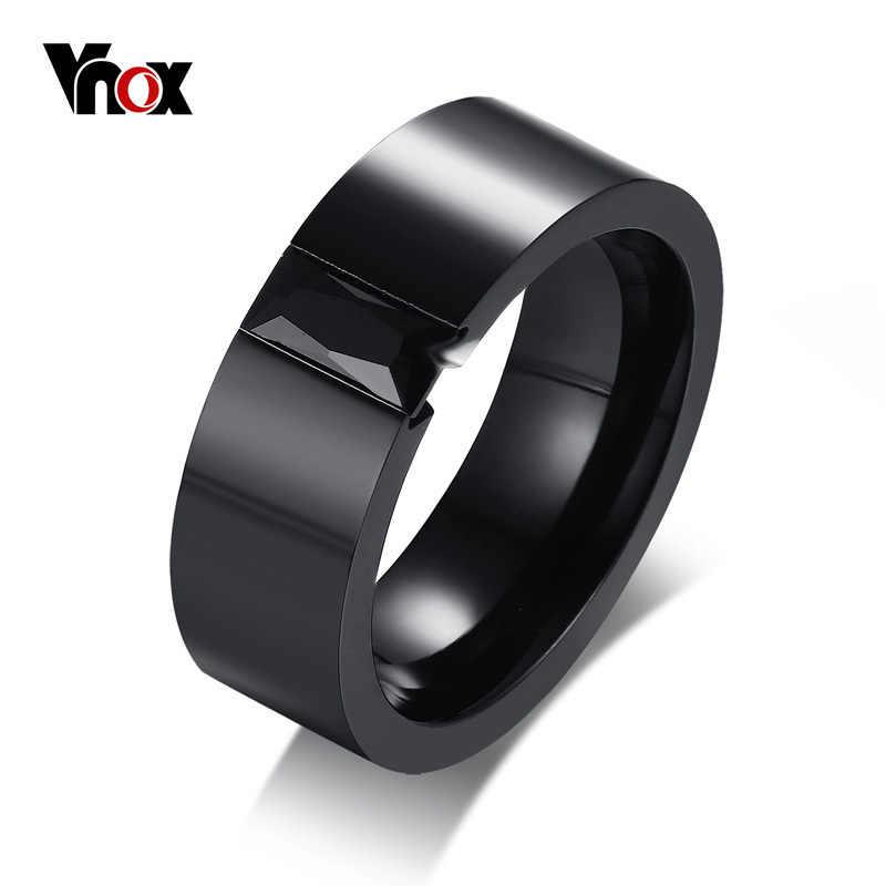 Vnox สีดำผู้ชายแหวนหมั้นแหวนสแตนเลส 8 มม.งานแต่งงานเครื่องประดับ CZ หิน