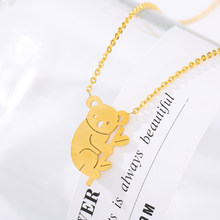 Australia Koala Necklace For Women Collar Mujer Gold Stainless Steel Chain Femme Pendant Necklace Minimalist Jewelry for Friends(China)
