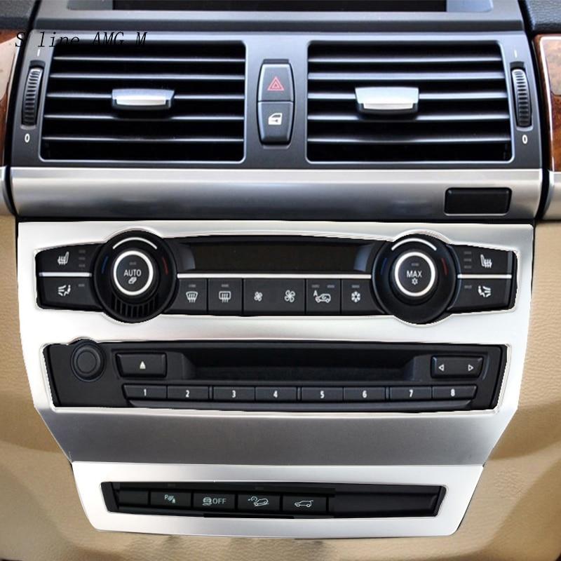 Style de voiture pour BMW e70 e71 X5 X6 Auto intérieur AC CD contrôle décor cadre panneau décoration en acier inoxydable couvre autocollants garniture