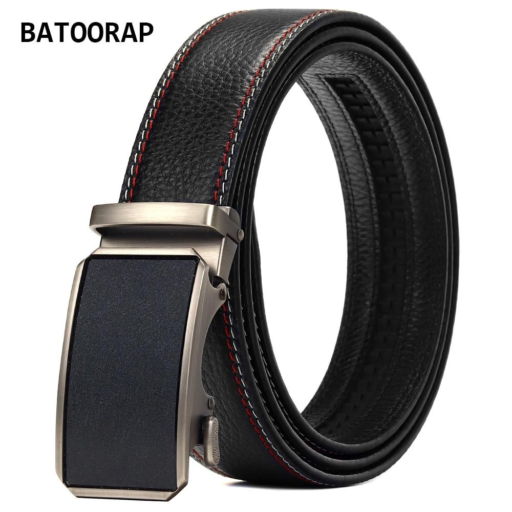 BATOORAP Men's Leather Belt Metal Automatic Buckle Fashion Male Suit Accessories Black High Quality Cow Hide Waistband Z52P009