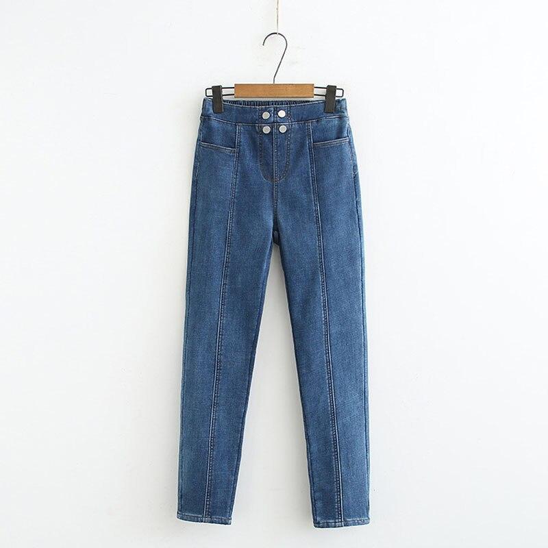 New Blue Winter Velvet Jeans Female High Waist Denim Skinny Warm Thick Jeans Women Plus Size XL-5XL Stretch Pants Pantalon Femme