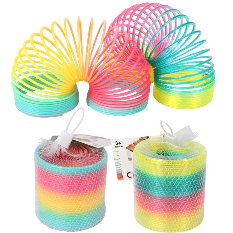 1 шт. Радужный круг, забавные игрушки, раннее развитие, развивающая складная пластиковая пружинная катушка, Детские креативные волшебные игрушки