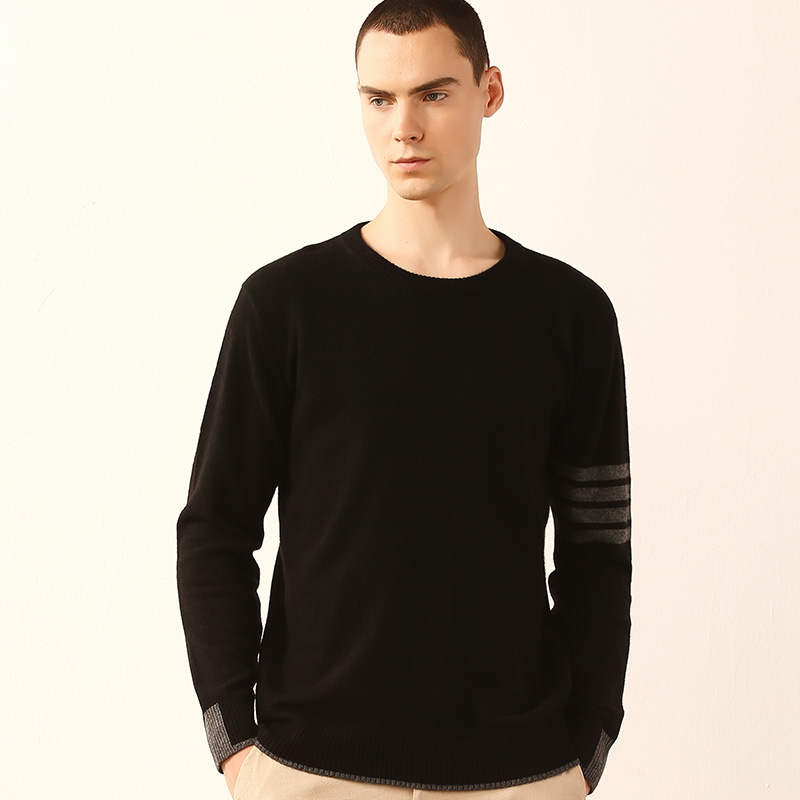 Men Cashmere Sweater Black O-neck Full Sleeves Casual Short Warm Winter Male Clothing Fall Pullover