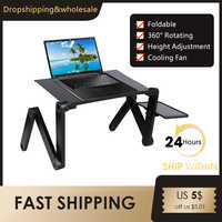 Adjustable Portable Aluminum Laptop Desk for Ergonomic TV Bed PC Table Stand Notebook Table Desk Stand With Mouse Pad 420*260 mm