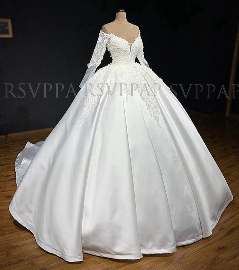Luxury Princess Long Sleeve Wedding Gowns V-neck African White Lace Satin Women Wedding Dress 2020 Robe De Mariee