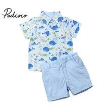 Новые летние комплекты одежды повседневная хлопковая детская одежда для мальчиков платье для маленьких мальчиков рубашка+ шорты, штаны комплекты одежды из 2 предметов