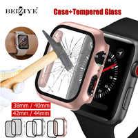 Funda para reloj Apple Watch 5, 4, 40mm, 44mm, parachoques para PC con película protectora de vidrio templado para iwatch Series 3, 2, 1, 38mm, 42mm