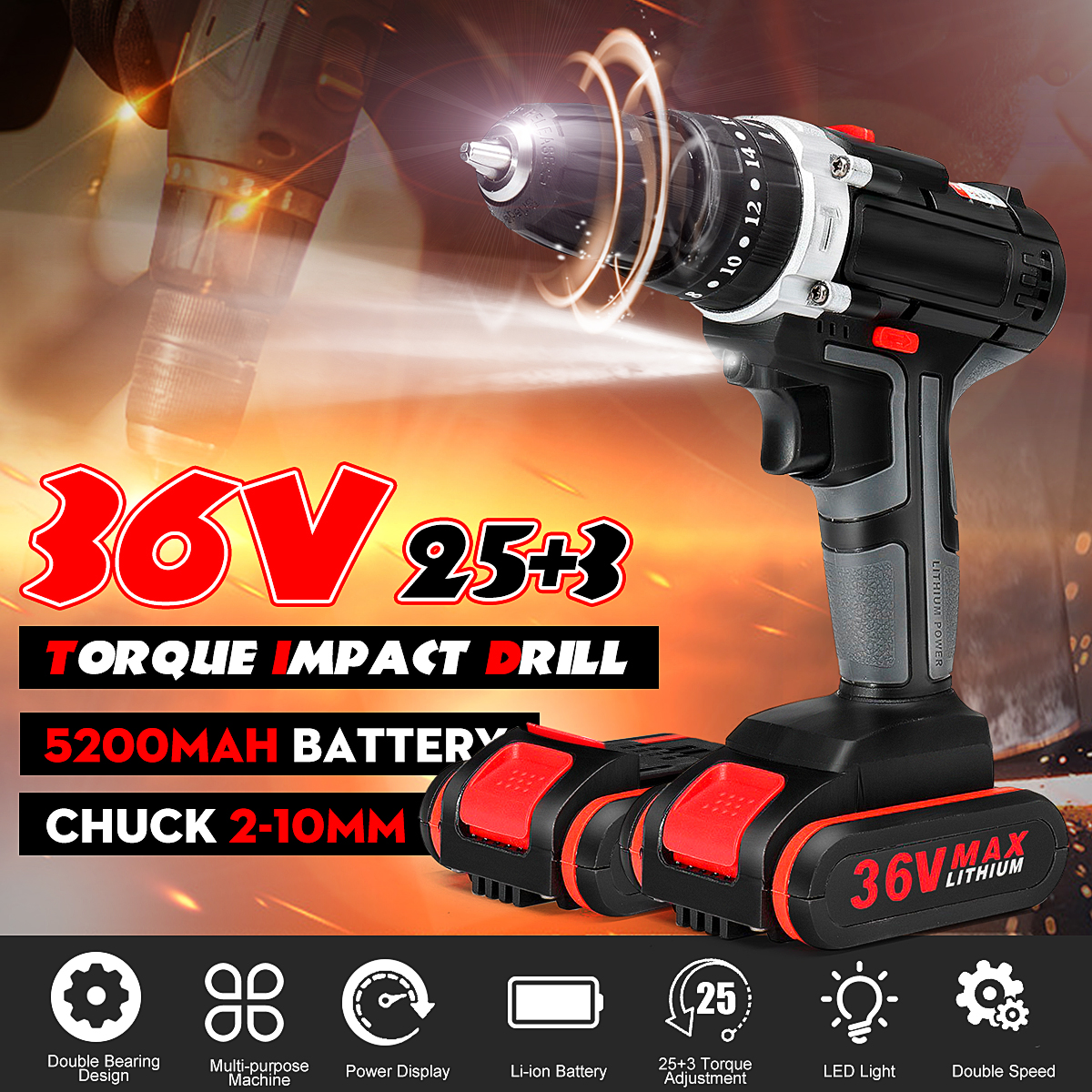 25+3 Torque 36V Cordless Electric Impact Drill Li-ion Battery Screwdriver LED Working Light DIY Home Hand Flat Drill Power Tools