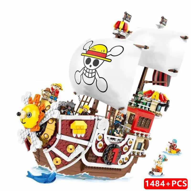 Jeden kawałek małpa D. Luffy THOUSAND SUNNY statek piracki 3D2Y zestaw klocków budowlanych klocki klasyczny film Model dla dzieci zabawka na prezent dla dziecka