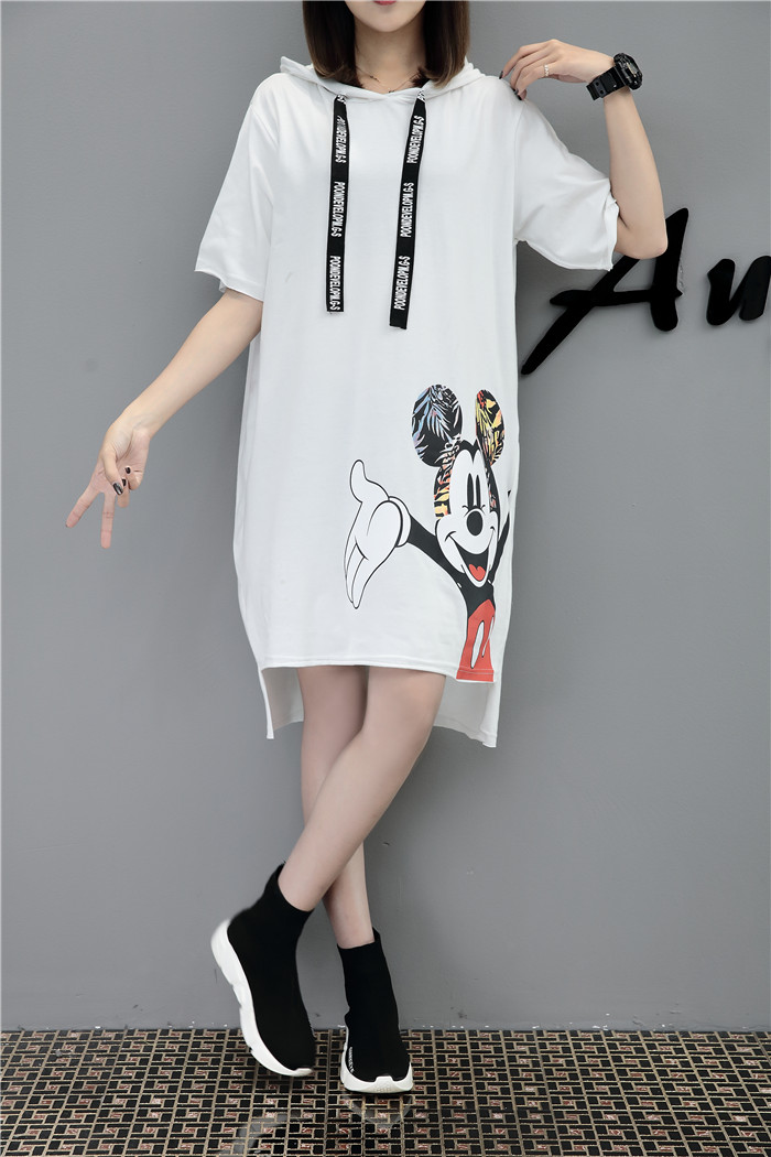 H61a2c9b5ca82454b922938163dad0a7bH - New Runway short sleeve Hooded Sweatshirt dress casual mickey cartoon printed women femme oversize dresses vestidos