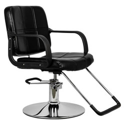 HC125, silla de barbero para mujer, silla de peluquería negra de superficie de cuero suave, silla de barbero adecuada para uso en peluquerías