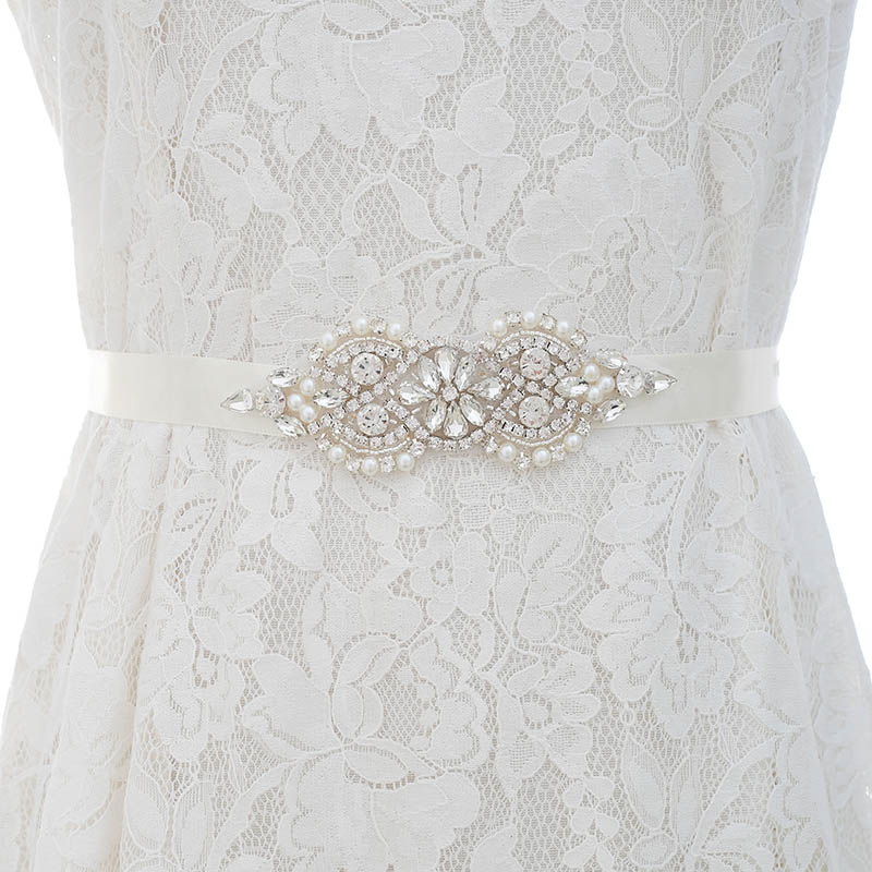 UK/_ Elegan Wedding Dress Beaded Belt Crystal Bridal Sash Rhinestone Ribbon Sight