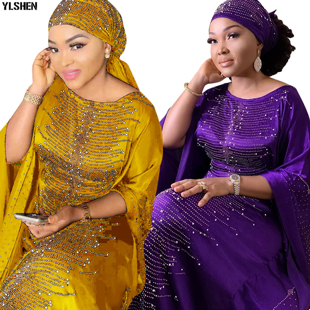 6 Colors African Dresses For Women Plus Size Dashiki Diamond Beads African Clothes Abaya Dubai Muslim Dress Robe Africa Dress