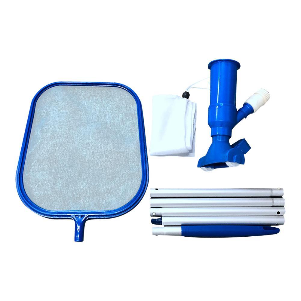 generic 1 Set Pool Cleaning Mesh Tool Kit Swimming Fine Frame Net with Vacuum Bottom Brush Pool Leaf Rake Catcher Cleaner Supplies