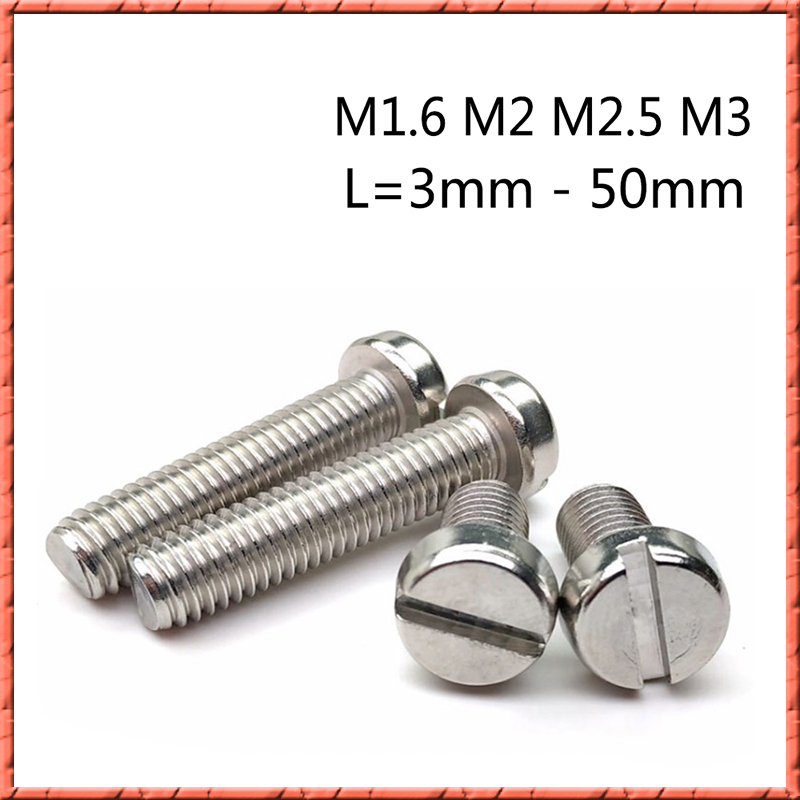 500pcs/lot DIN85 M1.6/M2/M2.5/M3 Slotted cheese cylindrical head machine <font><b>screw</b></font> Stainless steel Slotted cylindrical head <font><b>screw</b></font> image