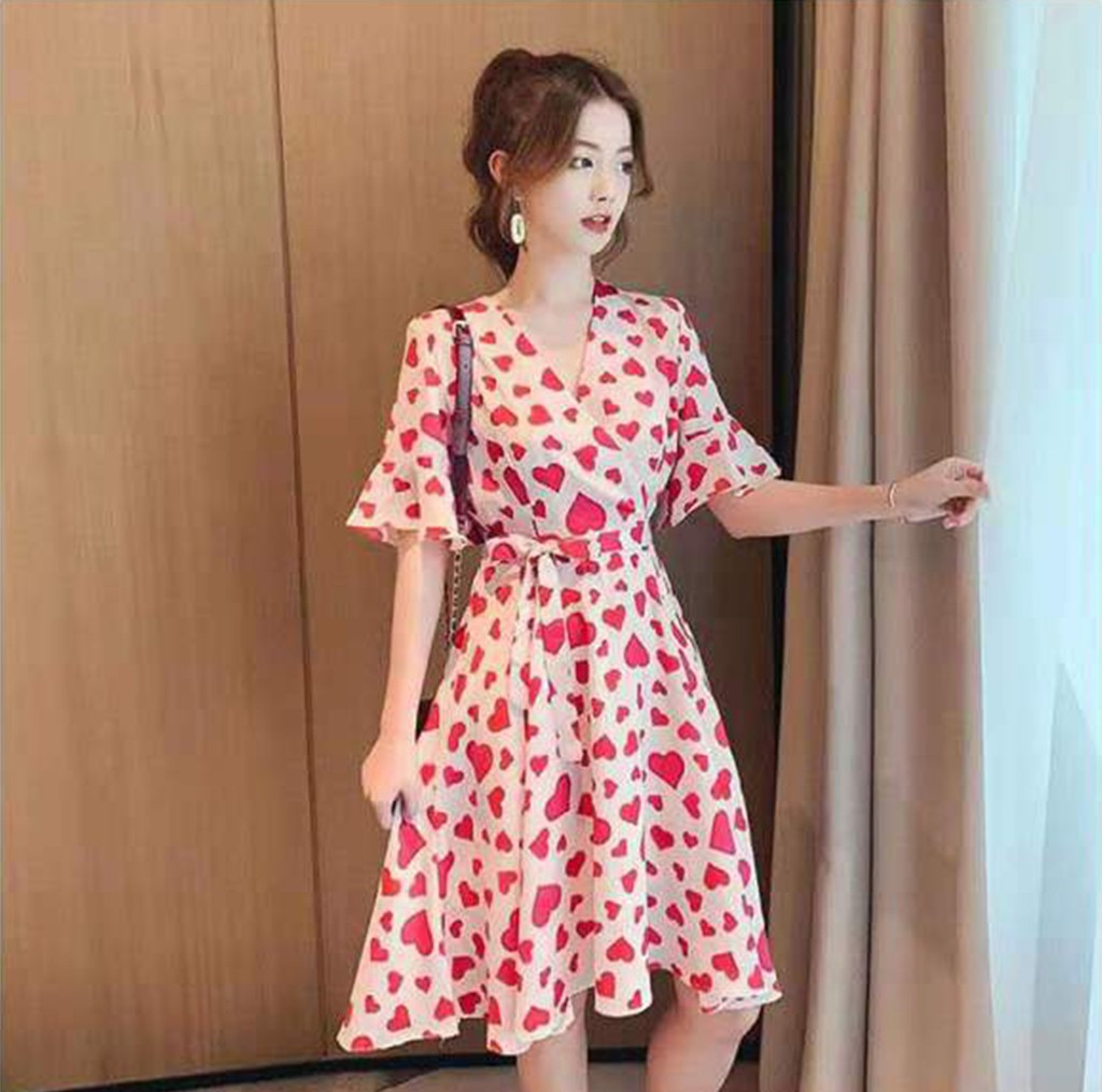 Women's clothing 2020  V-Neck Peach Heart Printing Flare Short Sleeve  Knee Length Dress dresses summer sukienka de verano#Q