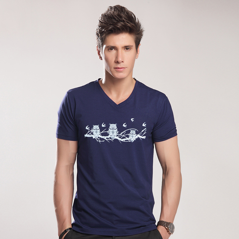 Animal Print Slim Fit T-shirt Men Big Men V Neck T Shirt <font><b>6XL</b></font> <font><b>Camisetas</b></font> <font><b>Hombre</b></font> Hip Hop Steetwear Tops Tee Shirt Homme T-shirts image