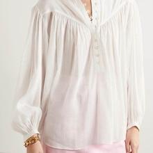 French Casual Loose Lantern Sleeve White Shirt Silk Cotton O-Neck Drape Fold Stitching 2021 Summer Women's Clothing Commuter