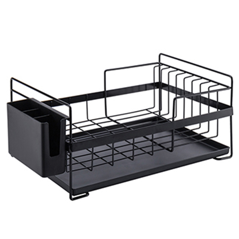 Kitchen Storage Organizer Dish Drainer Drying Rack Kitchen Sink Holder Tray For Plates Bowl Cup Tableware Shelf Basket Black