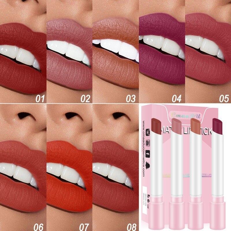 4 farben Matt Lasting Wasserdicht Kein Ausbleichen Lippenstift Matte Samt Nebel Sexy Nude Lipstic Lip Make-Up Kosmetik Maquiagem TSLM2