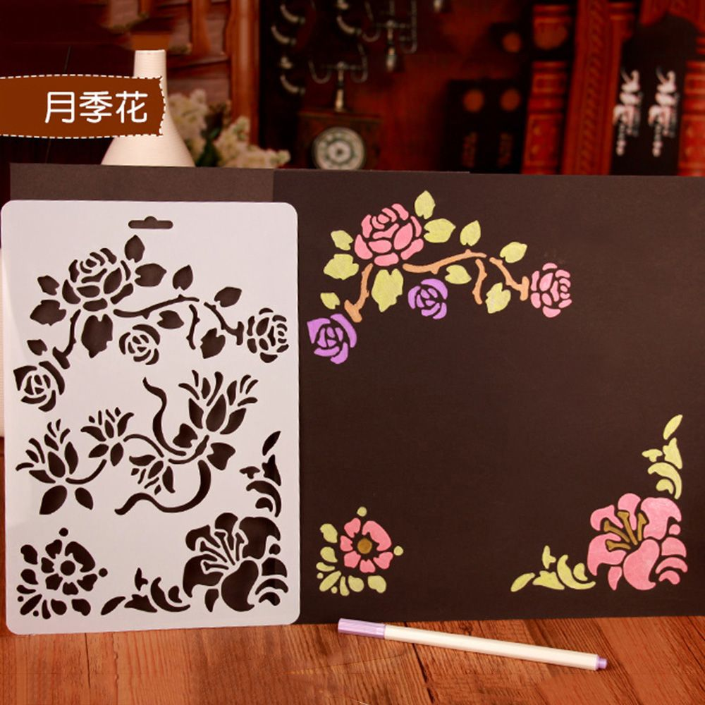Rose Shape Stencils For Kids Drawing Painting Templates Educational Toys DIY Gift Cards Scrapbooking