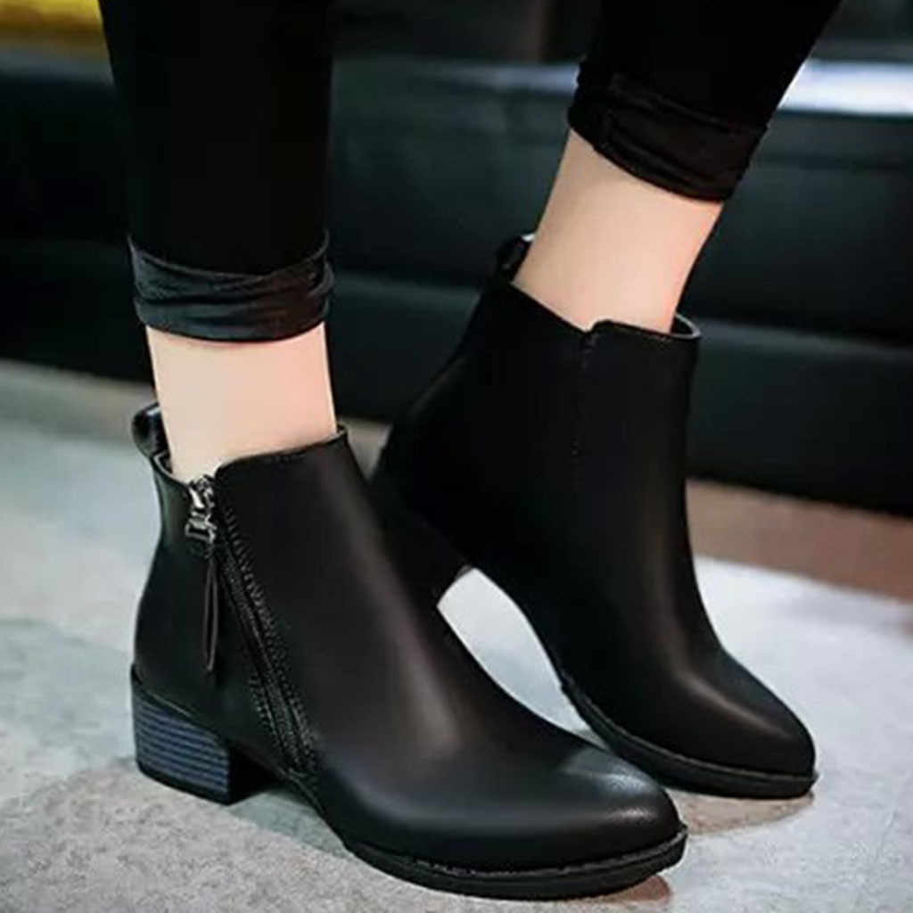 women Zipper leather boots 2019 winter Fashion Pure Color Pointed Toe Zipper Boots Square Heels Vintage Women Boots botas#g3