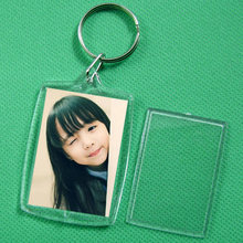 Newly 10 Pcs Keychain Key Chain Rings Blank Clear Transparent Acrylic Picture Frames 32x46mm Lockets FIF66(China)