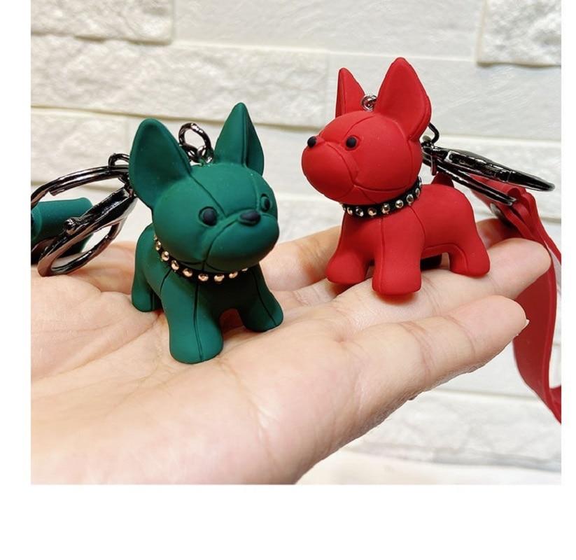 French Bulldog Keychain PU Leather Animal Dog Keyring Holder Bag Charm Trinket Chaveiros Bag Accessories Punk Style Pendant 20