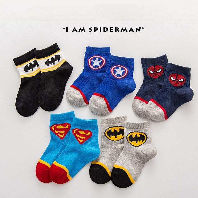 Avenger Socks Baby Boys Sport Cotton Socks For Kids Socks Spiderman Superman Batman Children's Football Basketball Socks