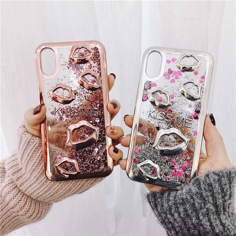 Electroplate lips Dynamic Liquid Quicksand Phone Case For iphone X XR XS Max Cover For iphone 6 6S 7 8 Plus 7Plus 8Plus cases in Fitted Cases from Cellphones Telecommunications