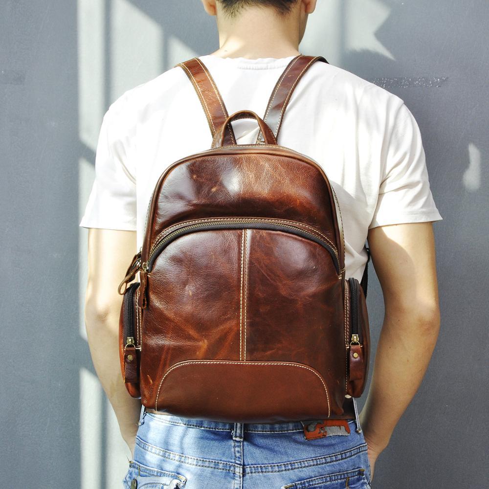 Unisex Gender Genuine Leather Fashion Travel University College School Book Bag Design Backpack Student Sling Bag 811-1