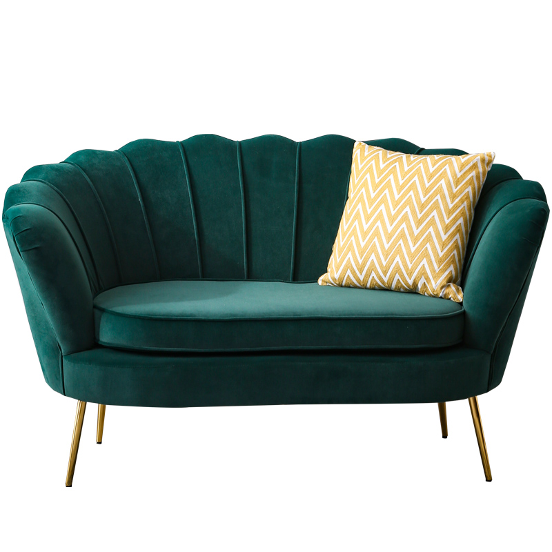 Canapé simple nordique net rouge lumière luxe balcon chambre vêtements magasin tissu flanelle lit et petit déjeuner ins métal canapé