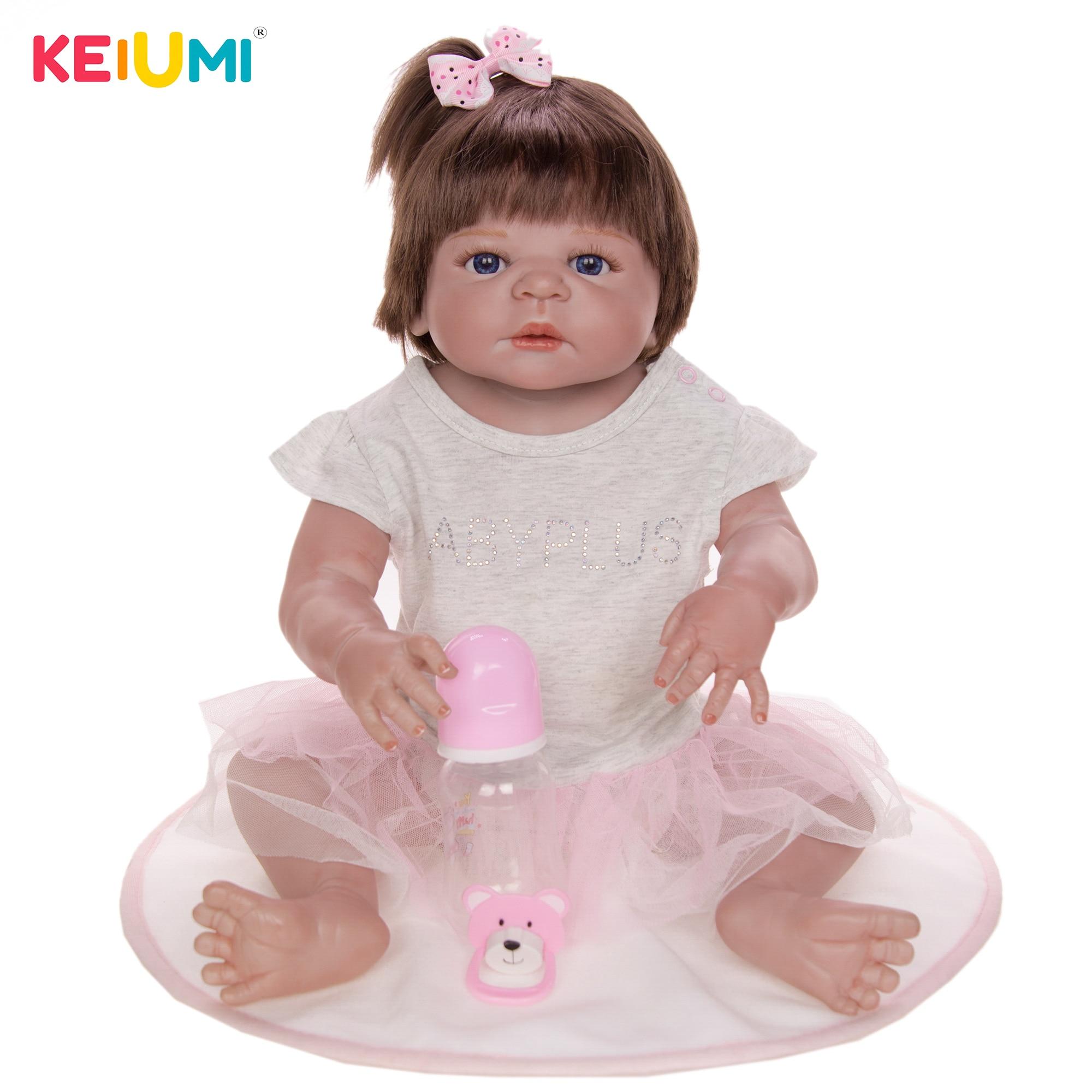 "Reborn Toddler Dolls 23/"" Lifelike Girl Doll Silicone Full Body Waterproof Alive"