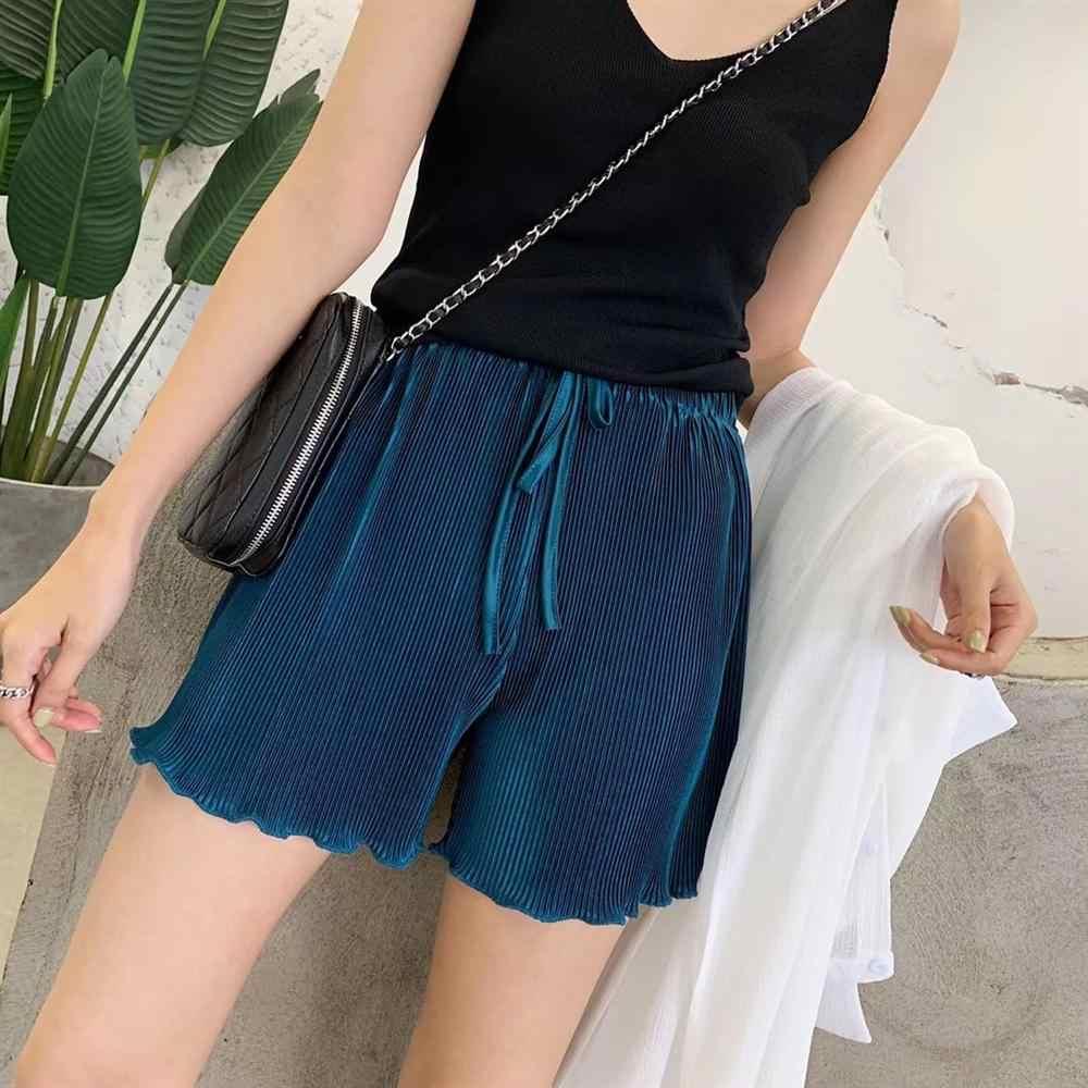 Letni damski lodowy jedwab plisowany szyfon szorty szerokie nogawki dorywczo elastyczny, wysoki stan szyfonowe szorty Boho spodnie plażowe dziewczyny krótkie