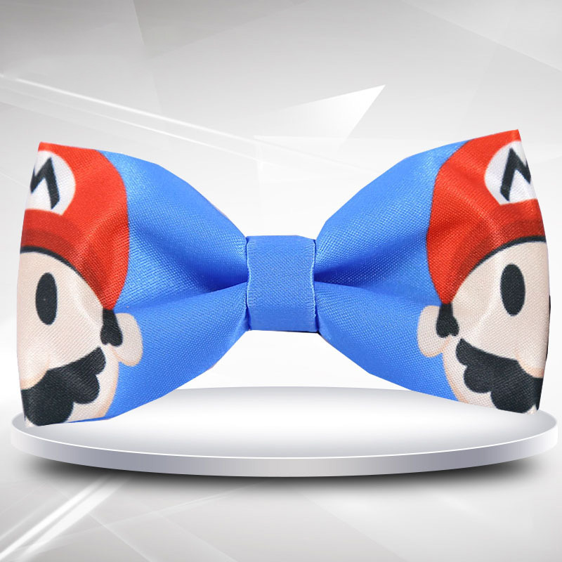 Cartoon Super Mario Bro Bow Tie Printed Handmade Creative Men Adult Ties Mens Gift Cosplay