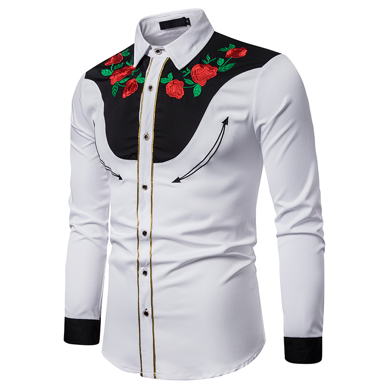 MJARTORIA 2019 Men Casual Long Sleeve Turn-down Collar Shirt Fashion Button Embroidery Western Shirts  Autumn Shirt Male Tops
