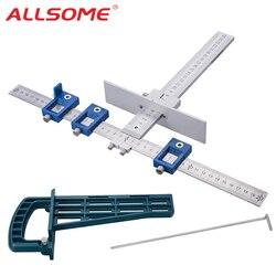 ALLSOME Drill Guide Hülse Schrank Hardware Jig Kit + Magnetische Schublade Rutsche Jig Set Montage Werkzeug Für Schrank Möbel