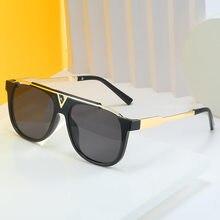 2020 moda design da marca de grandes dimensões quadrados óculos de sol feminino dos homens vintage espelho lente gradiente metal óculos sol para feminino uv400
