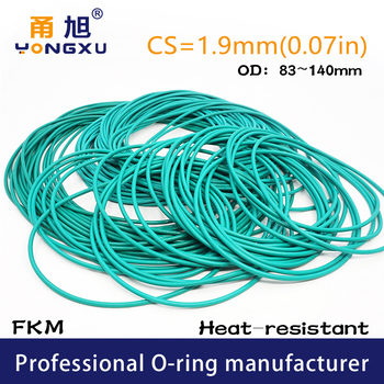Green FKM Fluorine Rubber O-ring Seals CS1.9mm OD83/85/90/95/100/105/110/115/120/140*1.9mm O Rings Seal Gasket Rings Fuel Washer image