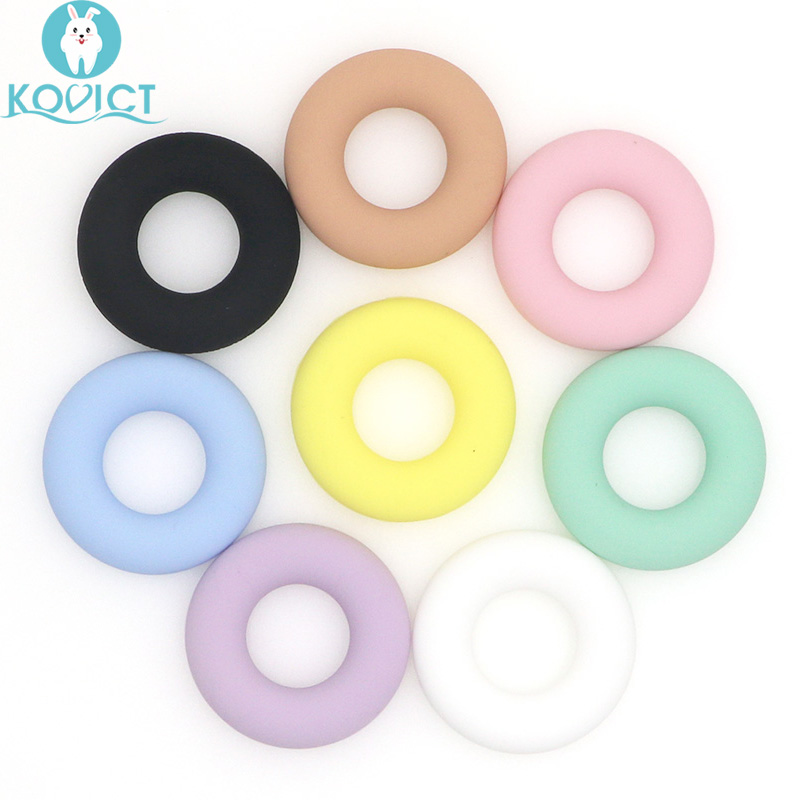 Kovict 5Pcs Round Silicone Teether Silicone Beads  Baby Teething Ring 43mm Food Grade Teething Necklace Toy Baby Products