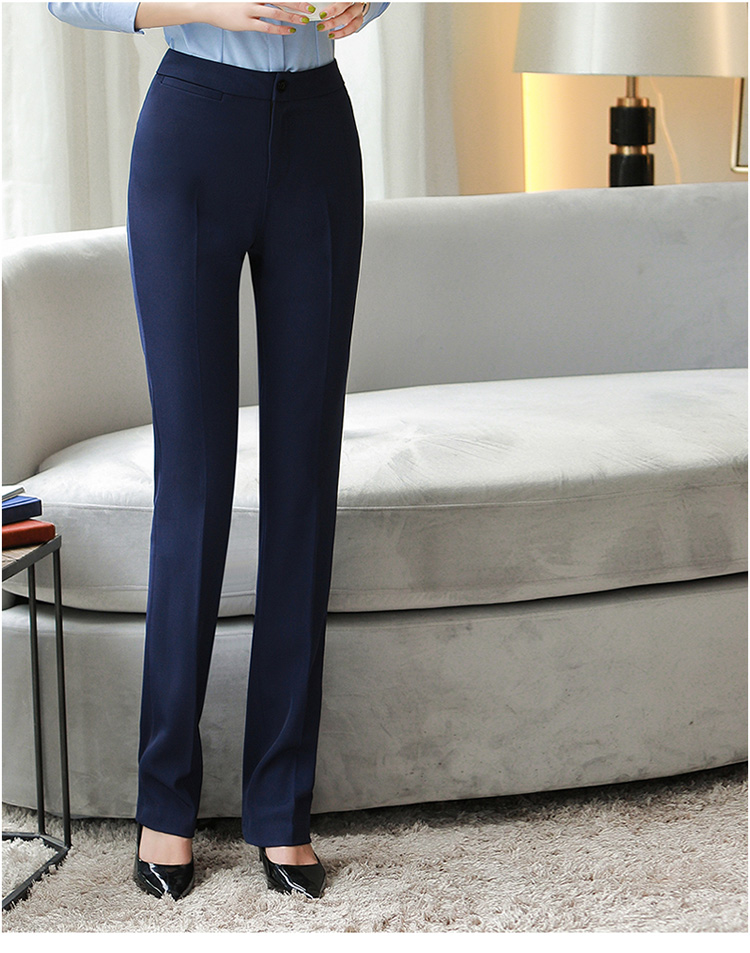 H61a4e1153bfa46d89146511a44363ad7C - Autumn Business Casual Long Trousers Women Solid Black Blue Red Formal Pants Office Ladies Work Wear Straight Suit Pant 4XL