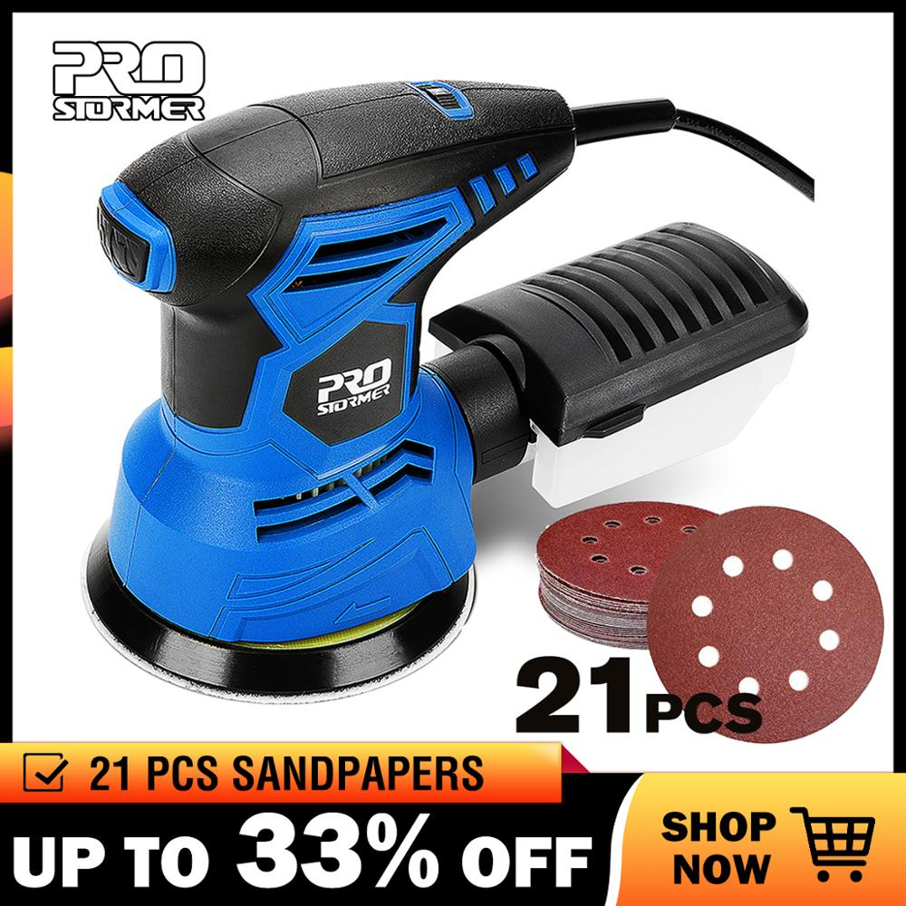 PROSTORMER 300W Random Orbital Electric Sander Machine with 21Pcs 125mm Sandpapers 120V/240V Strong Dust Collection Polisher-in Sanders from Tools on