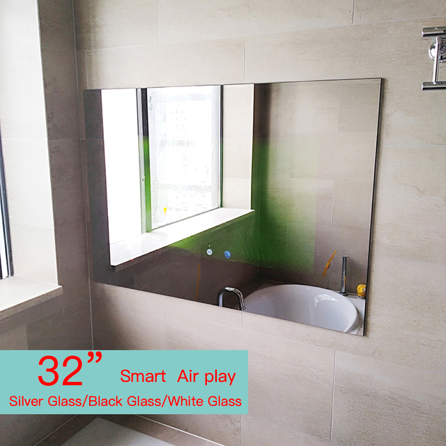 32inch Frameles Bathroom Mirror Waterproof Shower room LED TV  Internet Full HD 1080 Android Wi-Fi Glass Panel Airplay cast TV