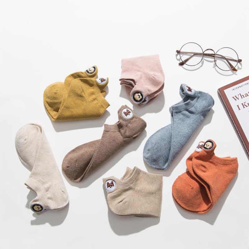 Harajuku Skarpetki ตลกข้อเท้าถุงเท้าเย็บปักถักร้อยสัตว์ Pug น่ารักถุงเท้าผู้หญิง Divertidos Creative Sokken Kawaii Chaussette Femme
