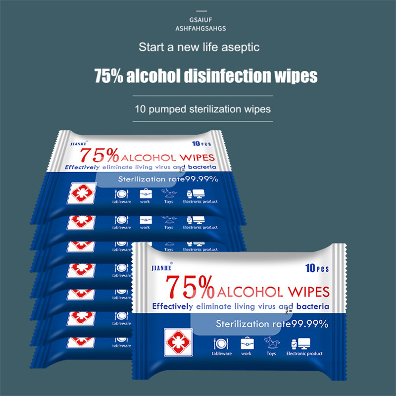 5packs/50pcs Disinfection Wipes Portable 75% Alcohol Wet Wipes Swabs Pads Antiseptic Cleanser Cleaning Sterilization Health Home