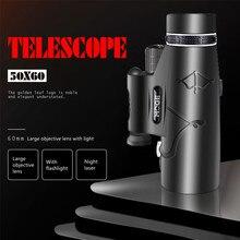 Profissional monocular poderoso telescópio hd 50x60 com lâmpada lightinghighigh potência hd monocular, bak4 duplo foco telescópio