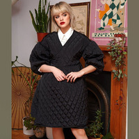 SHENGPALAE 2019 Black Korean Fashion Jackets New Winter V Collar Half Sleeve Loose Big Personality Large Hem Coat Women JL103