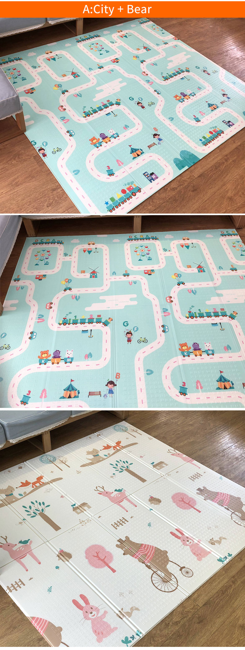 H61a518dad7fc42faa6d240a76bd16c38m 180X200CM Baby Mat 1CM Thickness Cartoon XPE Kid Play Mat Foldable Anti-skid Carpet Children Game Mat